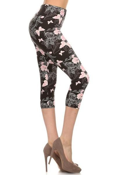 sueded butterfly parade capri legging