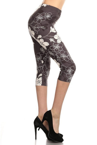 sueded floral nightingale capri legging