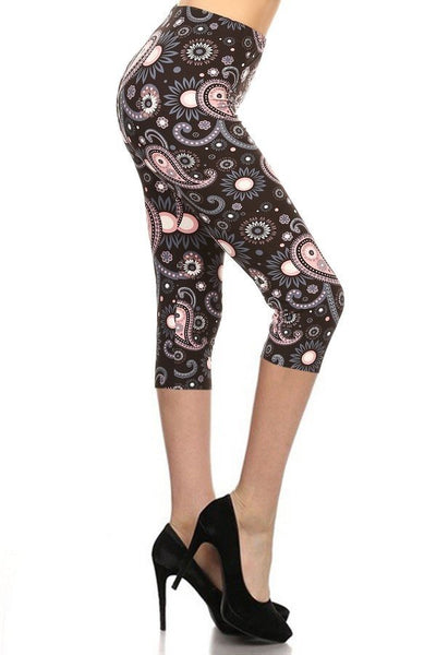 sueded paisley blooms capri legging