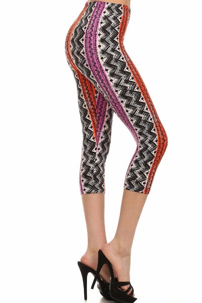 sueded riley stripe capri legging