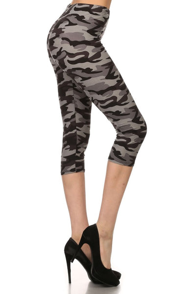 sueded grey camo capri legging