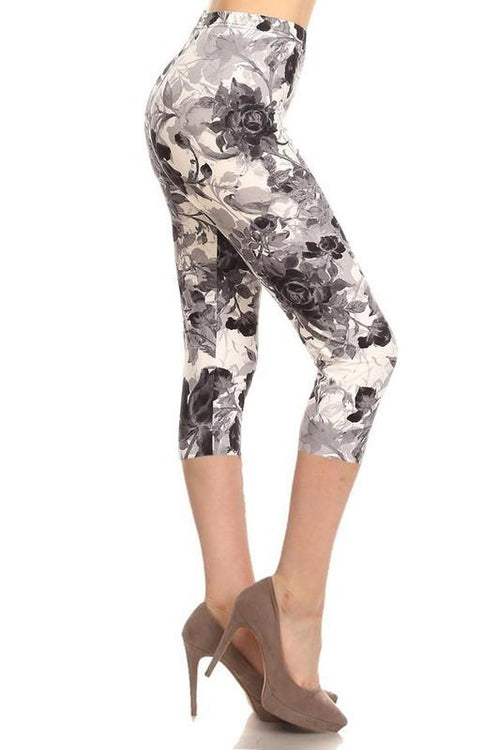 sueded grey haze floral capri legging
