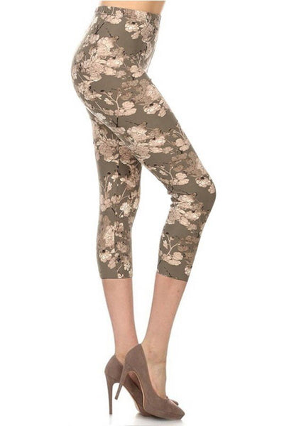 sueded earl grey blooms capri legging