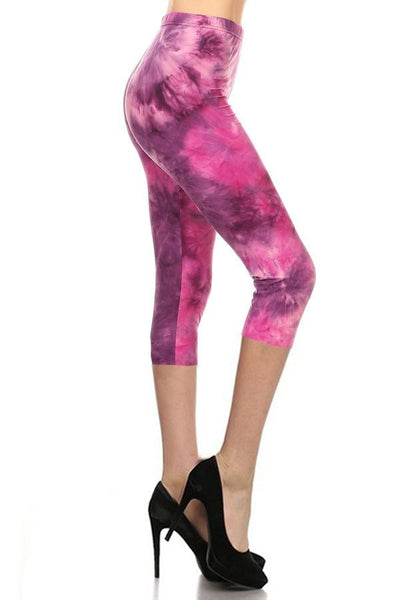 sueded taffy pink tye dye capri legging