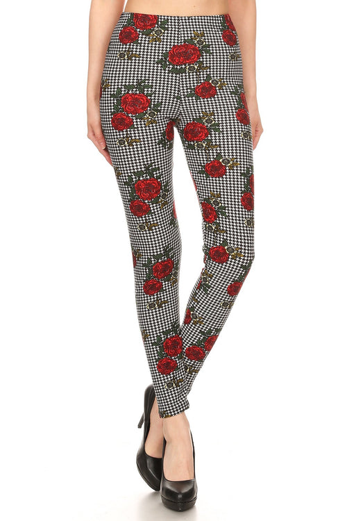 sueded gingham rose legging
