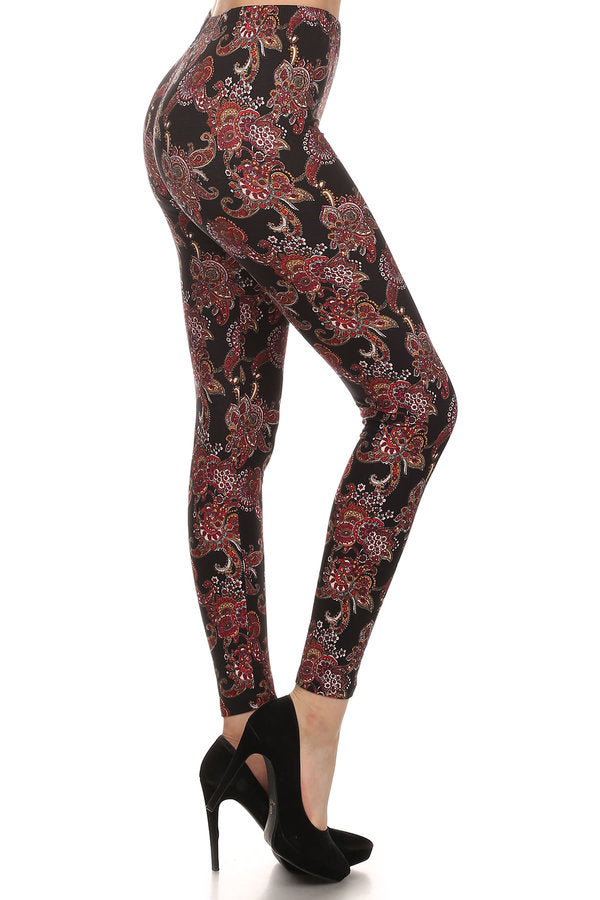 sueded black paisly legging