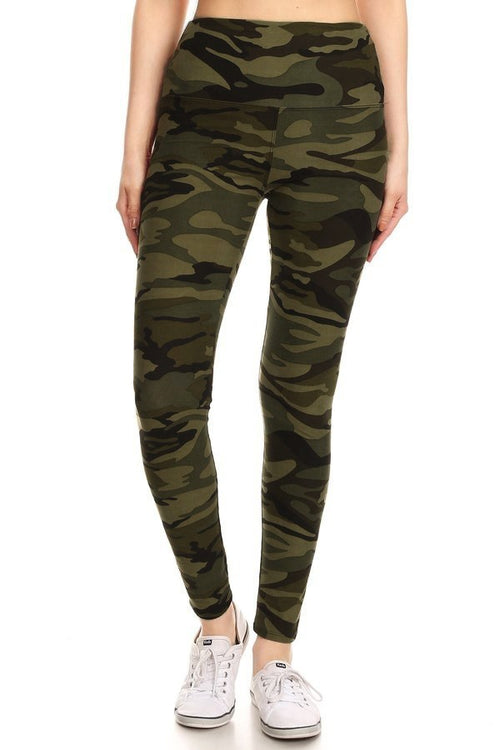 sueded high waist green camo legging