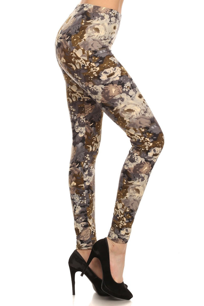 sueded floral camo legging