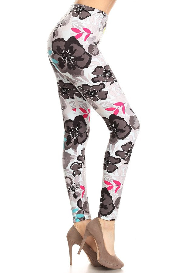 sueded floral punch legging