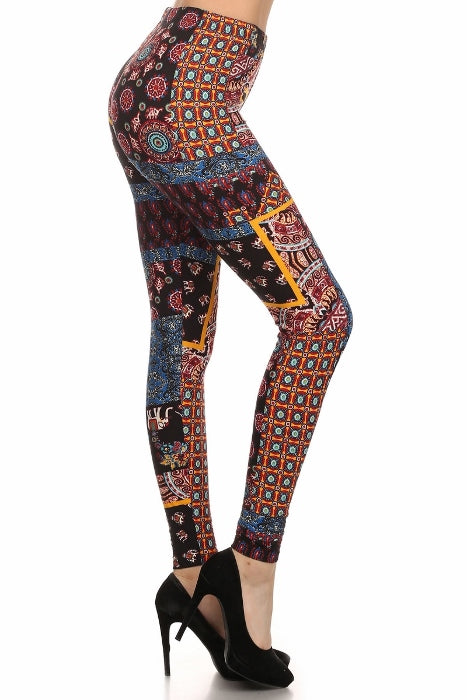 sueded tribal patch legging