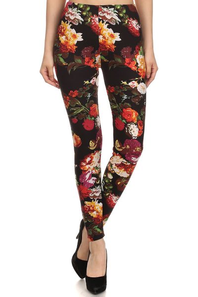 sueded fall blooms legging