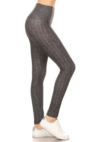 sueded high waist classic harringbone legging