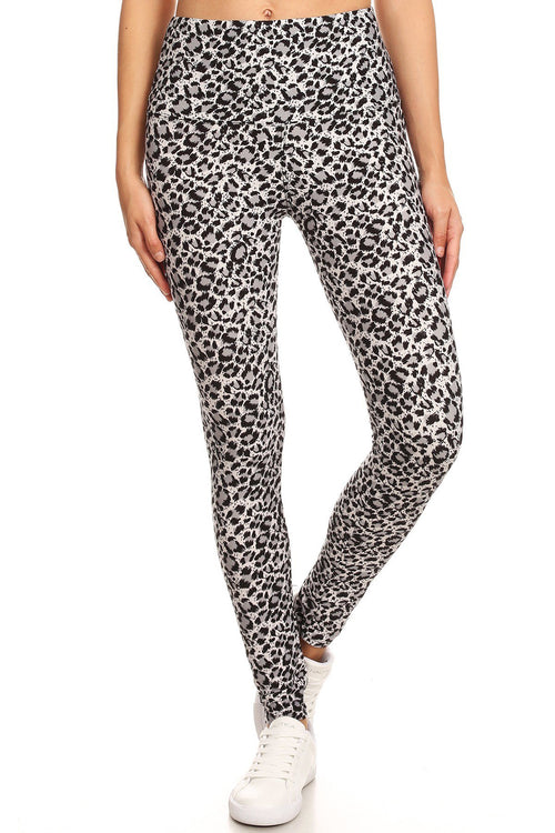 sueded high waist b/w cheetah legging
