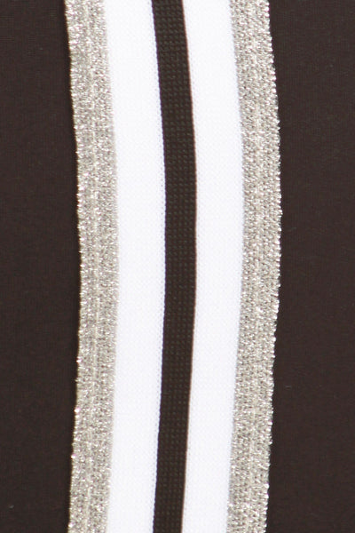 sueded high waist double silver stripe legging