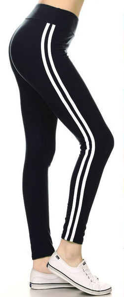 sueded high waist white stripe legging