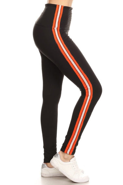 sueded high waist orange stripe legging