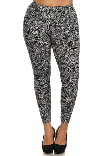 sueded midnight paisley legging plus