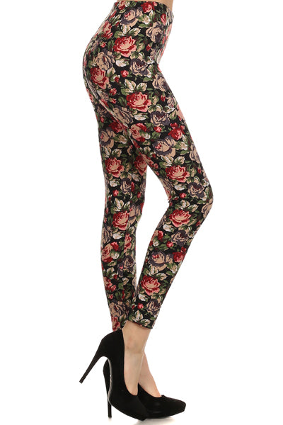 sueded romantic roses legging