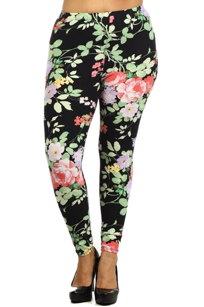 sueded april flower legging plus