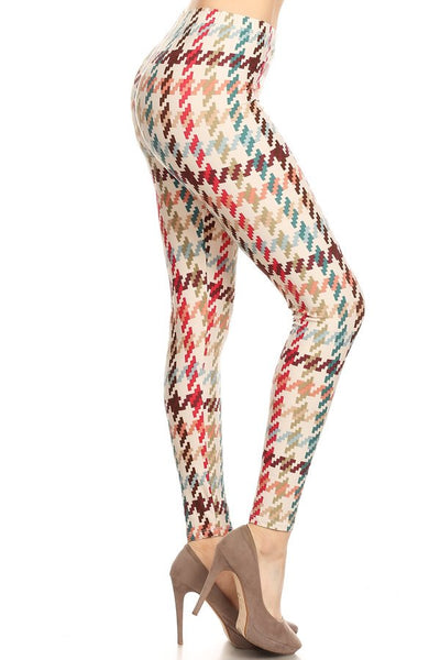 sueded graphic houndstooth legging