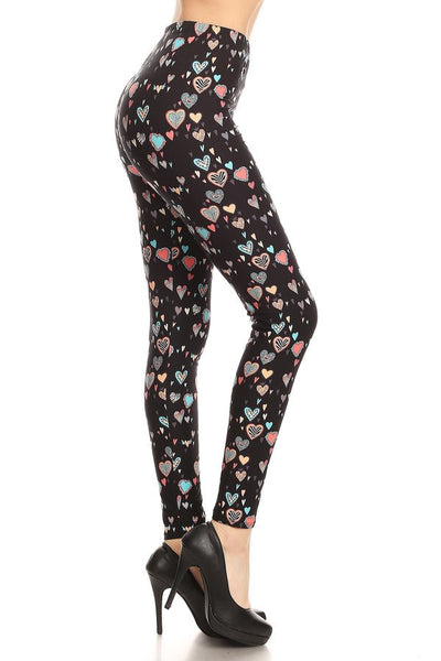 sueded floating hearts legging