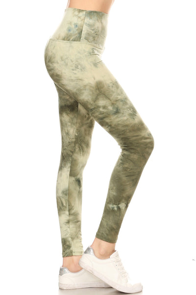 sueded high waist green splash legging