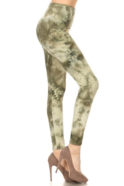 sueded green splash legging