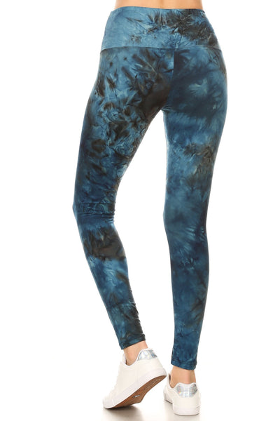 sueded high waist teal blue tye dye legging