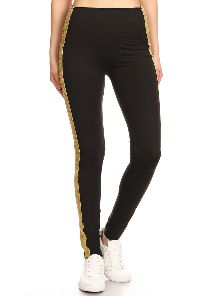 sueded gold stripe yoga legging