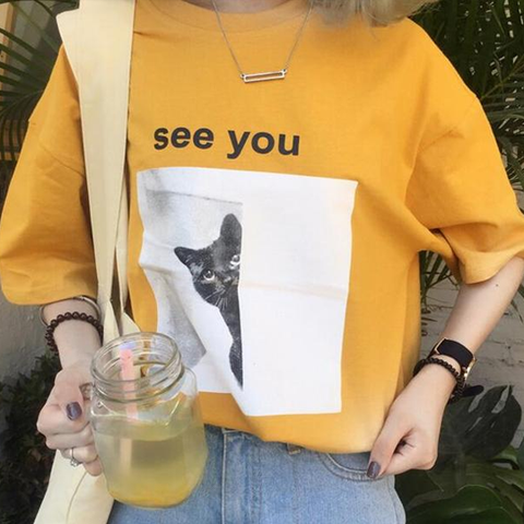 See You Cat Tee - Yellow