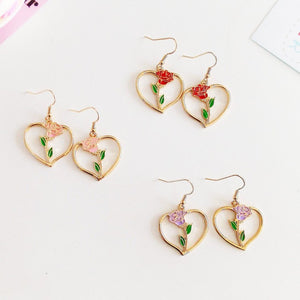 Gold Rose Earrings