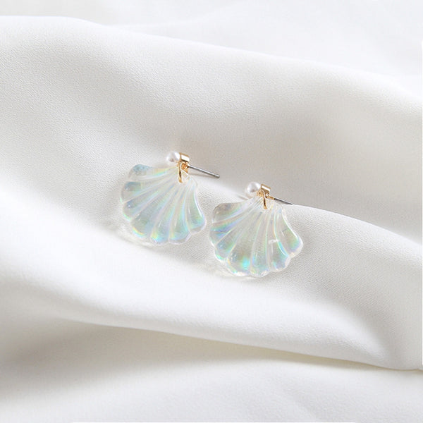 Cute Dainty Sea Shell Holographic Earrings