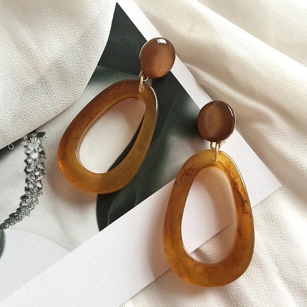 Resin Acrylic Drop Modern Art Earrings