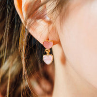Sun-kissed Gold Pink Heart Earrings