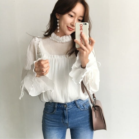 White Flare Sleeve Blouse