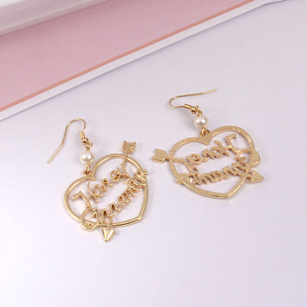 Gold Writing Heart Earrings