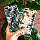 Summer Leaves TPU Phone Cases for iPhone X 7 8 6 6S 5 5S SE Plus 4 4S 5C Green Plants Painted Phone Back Cover Pink Green
