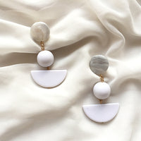 White Resin Acrylic Modern Earrings