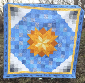 You Are My Sunshine Quilt with Sunshine and clouds