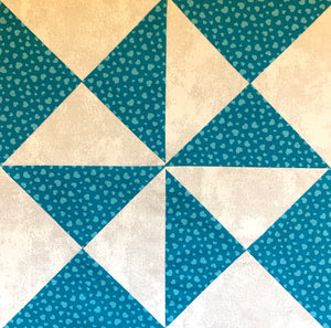 Yankee Puzzle Quilt Block made in white and teal
