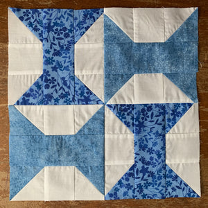 Spool Quilt Block made in blue and white