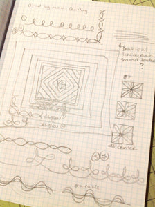Quilting notes on a graph paper notebook
