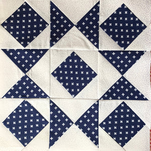 Combination Star Quilt Block in white and navy blue