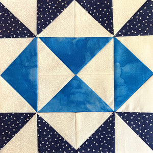 """Our Editor"" Quilt Block in blues and whites"