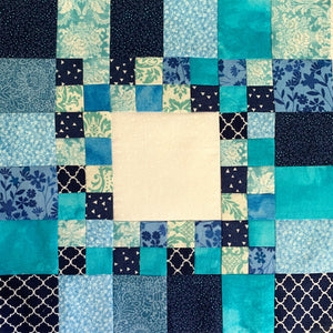 Medallion Quilt Square - lots of various blue squares.