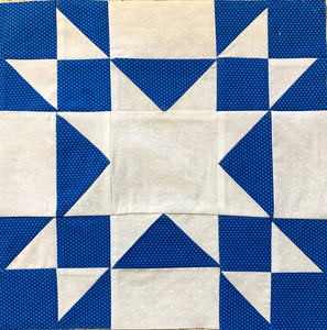 Amish Square Quilt Block made in solid white and royal blue polka dots