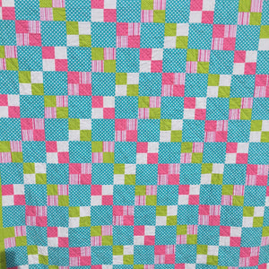The Alana Quilt Pattern in Teal, Pink, Lime Green, and White