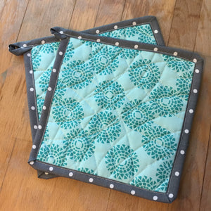 Hot Pot Holder in Teal and Grey
