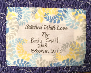 Preprinted Quilt Label