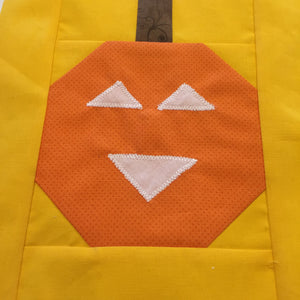 Orange and Yellow Pumpkin Quilt Block